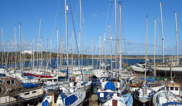 marina with sailboats