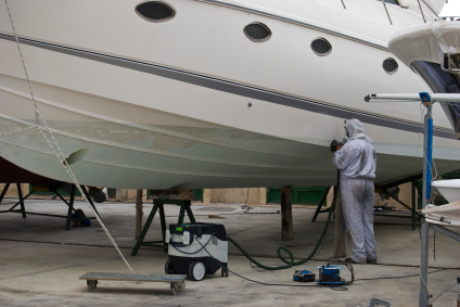 yacht getting repairs