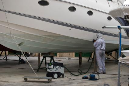 yacht getting repairs